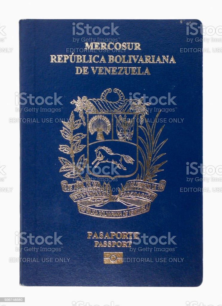 Venezuelan passport isolated on a white background stock photo