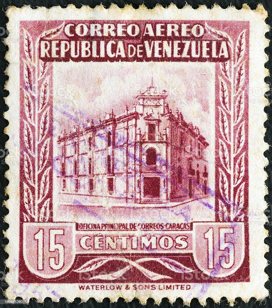 Venezuelan stamp shows General Post Office, Caracas (1953) stock photo