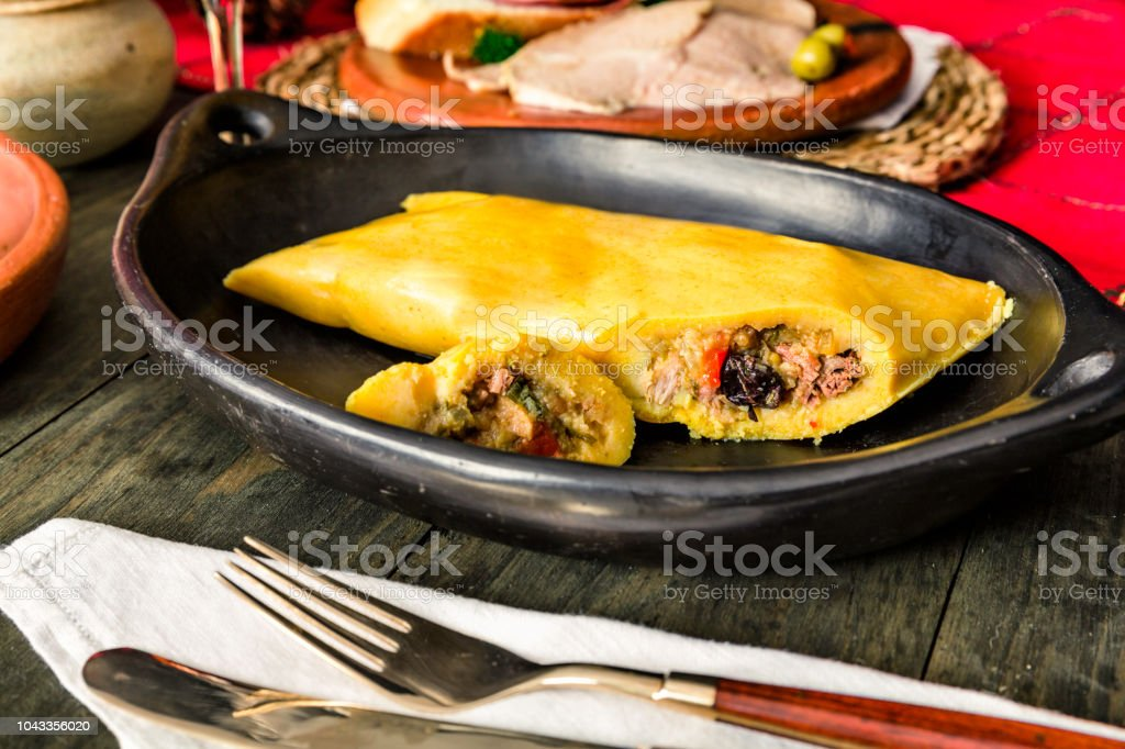 venezuelan traditional christmas food close up of hallaca on a rustic dish royalty free - Traditional Christmas Food