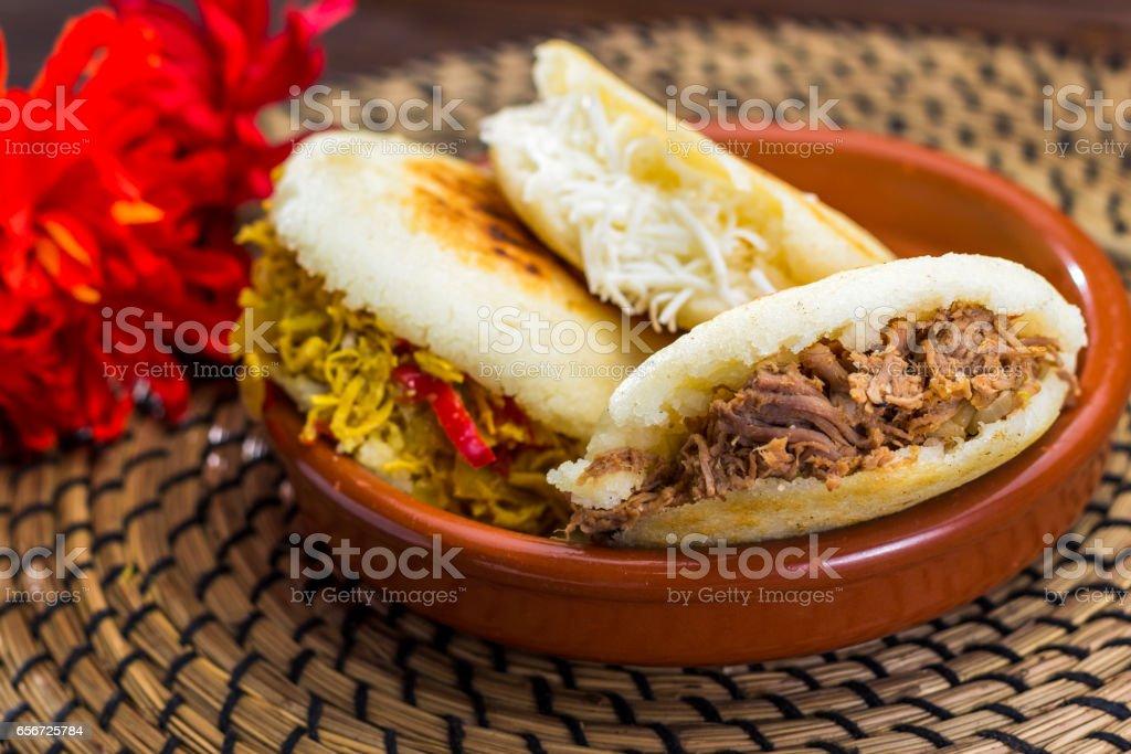 Venezuelan typical food, Arepa stock photo