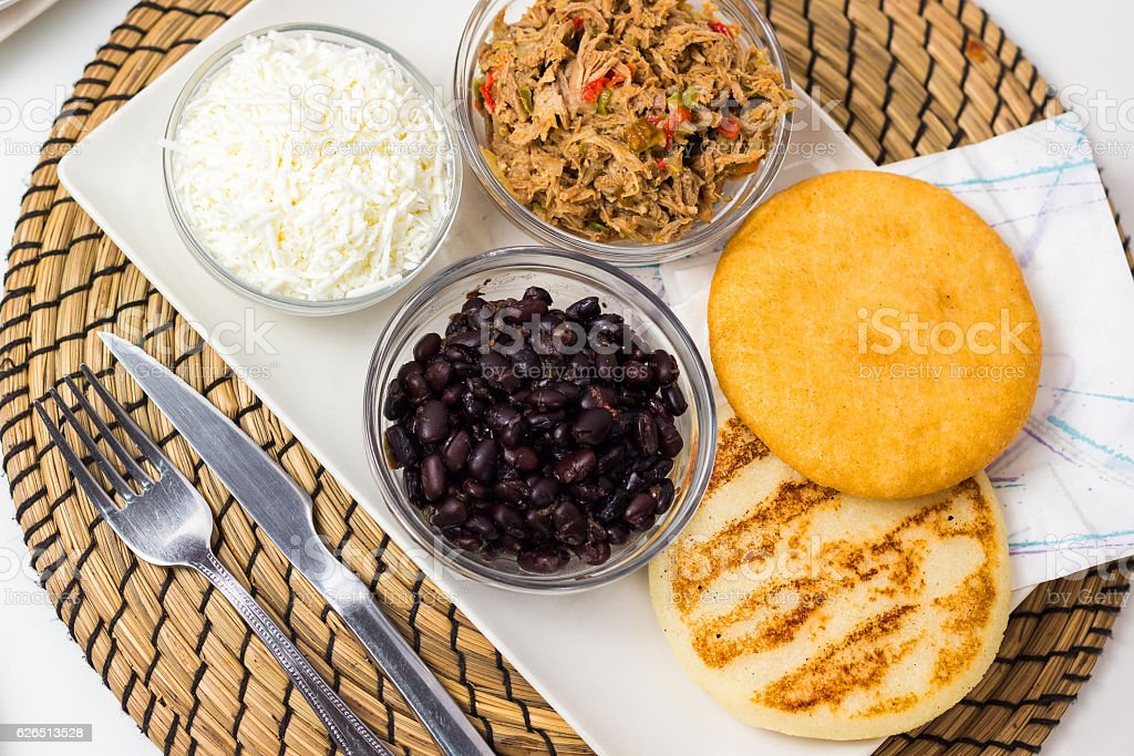 Venezuelan typical food, arepas and their different combinations - foto de stock