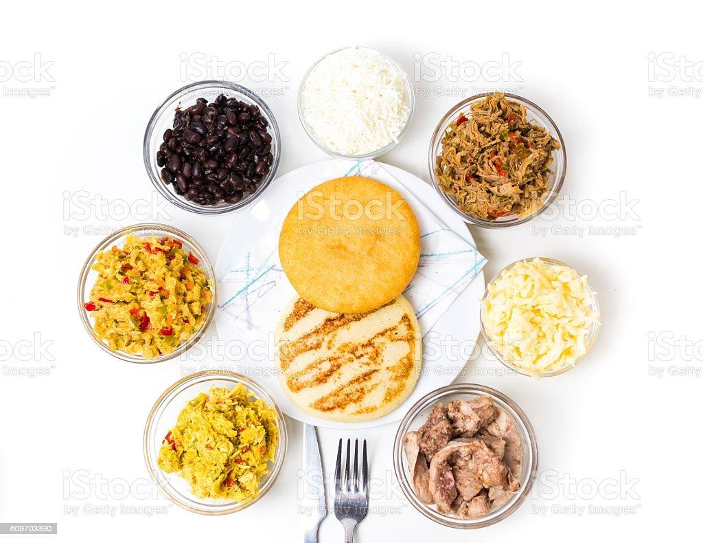 Venezuelan typical food, Arepas stock photo