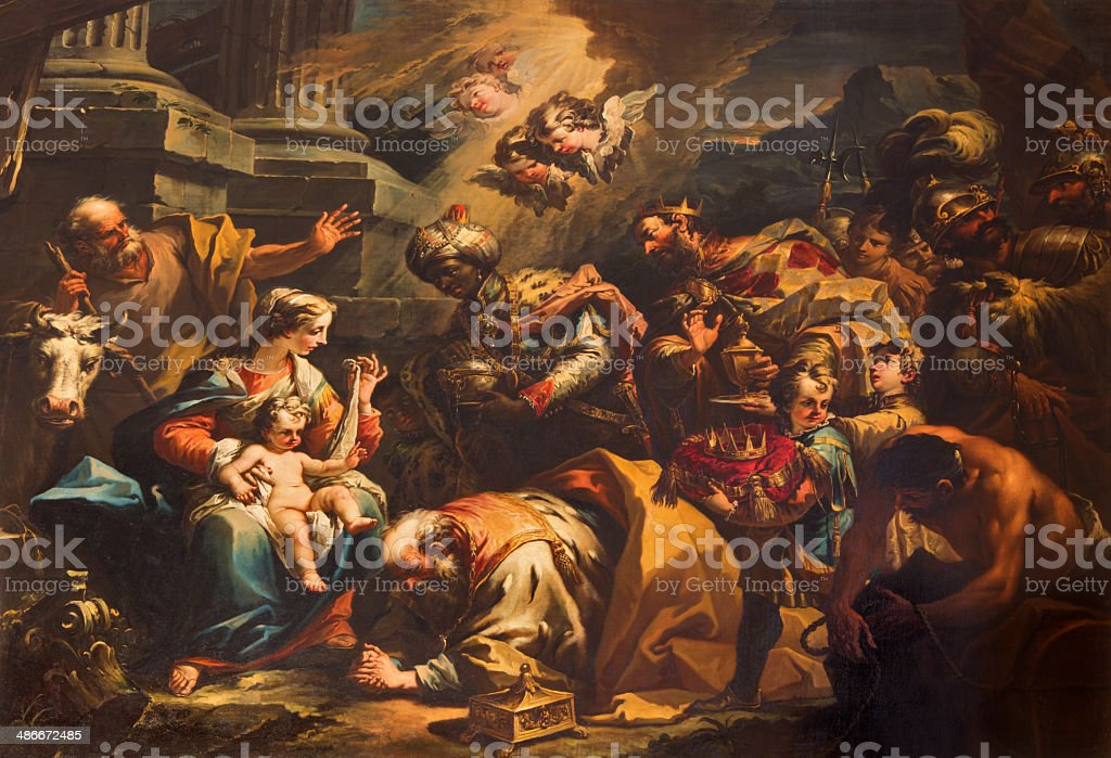 Venice - Adoration of Magi scene in church st. Stephen stock photo