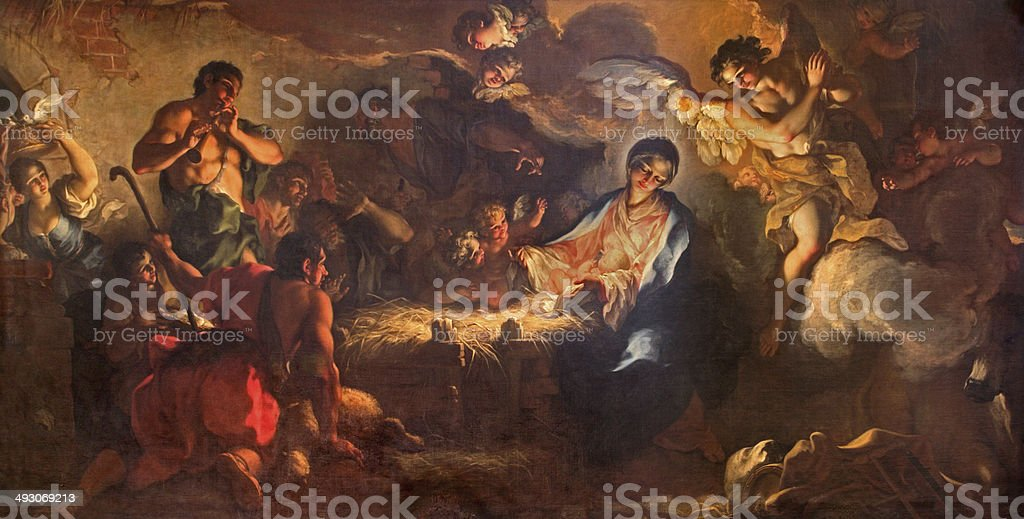 Venice - Adoration of shepherds from Chiesa di San Zaccaria stock photo