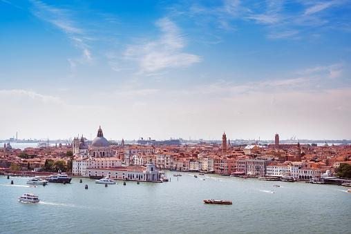 Venice aerial view, Grand Canal  santa Maria della Salute chu