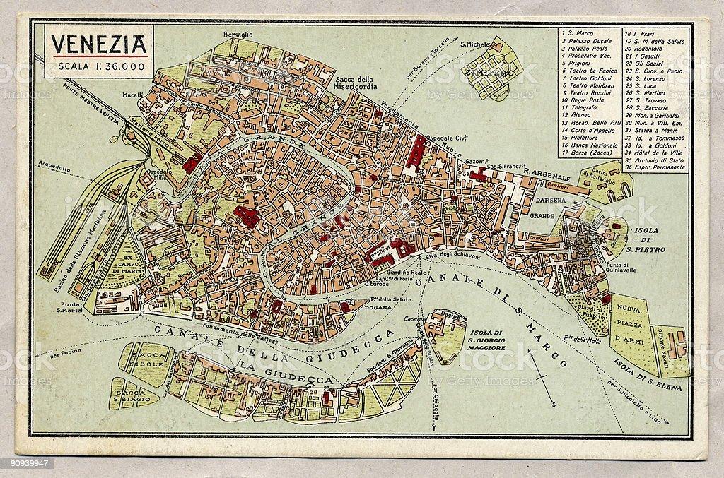 Venice Antique Map. stock photo