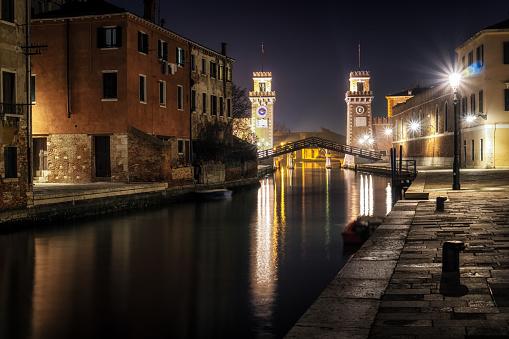 Venice Arsenal at night