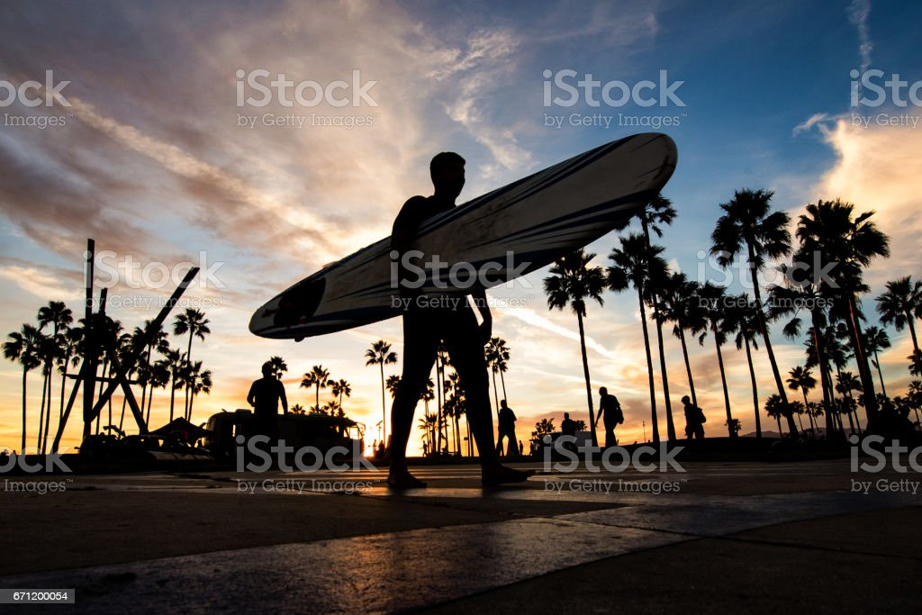 Venice Beach at sunset stock photo