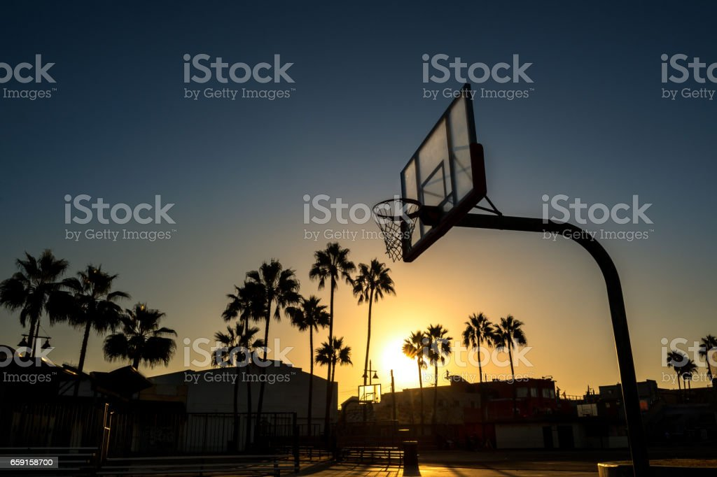 Venice Beach basketball courtyard stock photo