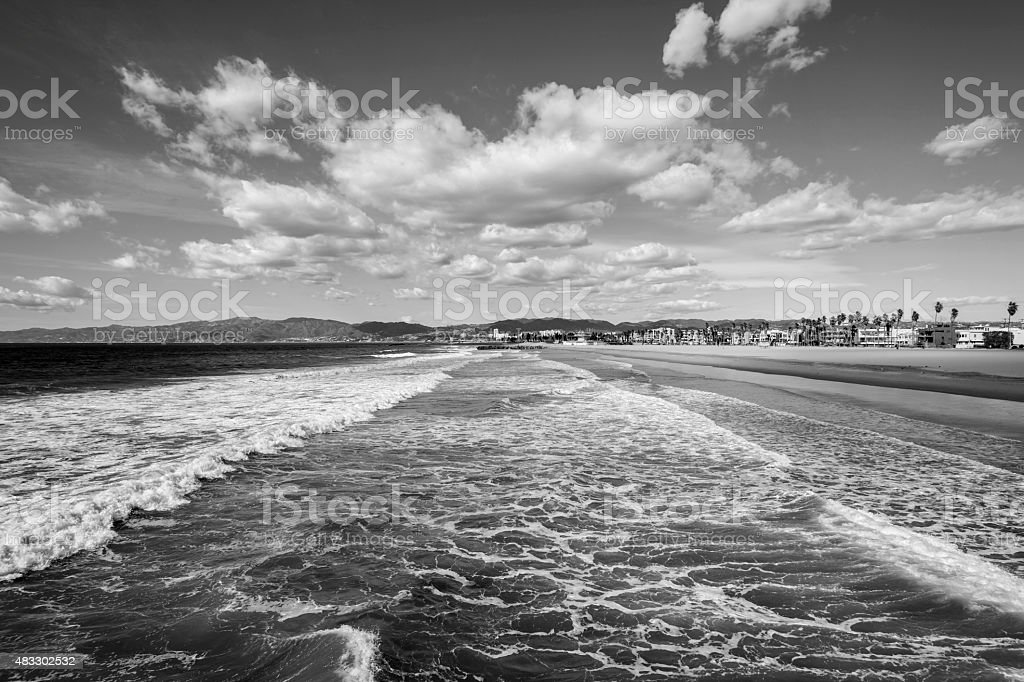 Black and white photo of popular Venice beach in Southern California.