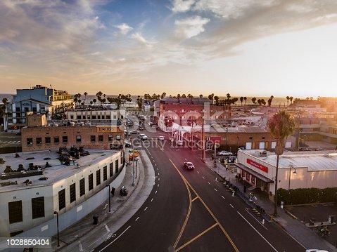 Sunset Aerial drone shot of Venice Beach California