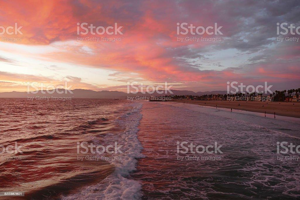 Venice Beach カリフォルニアレッドサンセット ロイヤリティフリーストックフォト