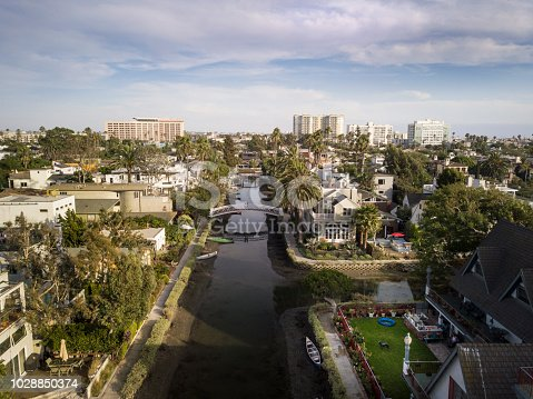 Aerial drone shot of the canals in Venice Beach California, overlooking Marina Del Rey.