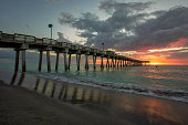 Venice Beach Fishing Pier Sunset, Venice, Florida.\nSharky's On The Pier