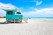 turquoise lifeguard hut
