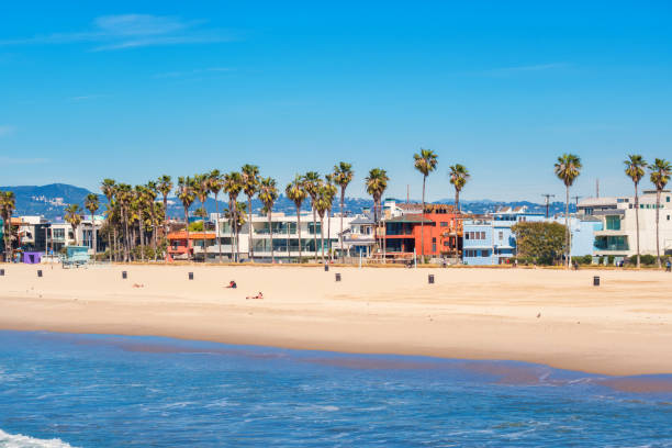 Venice Beach in Los Angeles California USA Stock photograph of beach and row of waterfront homes in Venice Beach, Los Angeles, California, USA on a sunny day. venice beach stock pictures, royalty-free photos & images