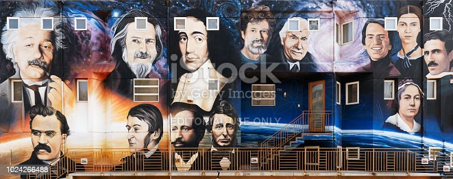 This side of a building adjacent to the Venice Beach Boardwalk in Venice Beach, California, purports to show famous pantheists from historical times.  The persons are not identified in the signs accompanying the wall nor at the web site referred to.  Pantheism seems, according to their web site, pantheism.net, to be essentially indistinguishable from atheistic naturalism, which is why it is supposed that easily identified persons such as Einstein and Nietzsche could appear in their illustration.  These people would certainly not be considered pantheists by a classical definition of that term.