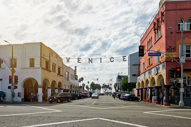 Venice Beach Venice, USA - October 14, 2015: THe Ocean Front Walk at Venice Beach is one of the most popular attractions for tourists in Southern California venice beach stock pictures, royalty-free photos & images