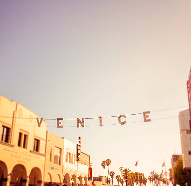 Venice Beach Los Angeles, USA - April 17, 2016: An editorial stock photo of the Venice Beach sign. Venice is a residential, commercial and recreational beachfront neighborhood on the Westside of the city of Los Angeles. venice beach stock pictures, royalty-free photos & images