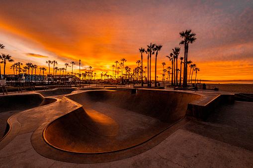 Magic of golden hour captured at Boardwalk, Venice Beach skate park, California.