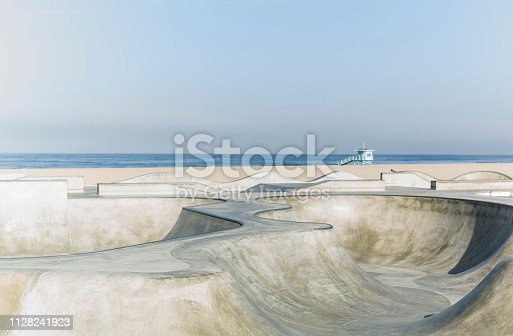 An empty Venice Beach Skatepark.