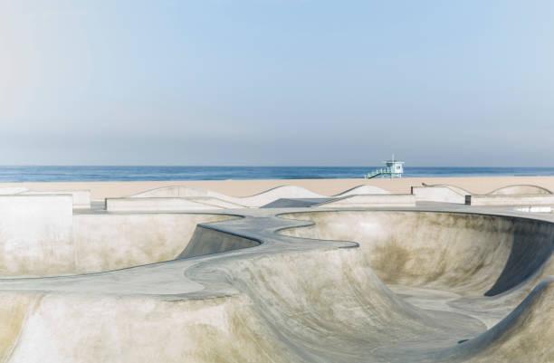 Venice Beach Skatepark An empty Venice Beach Skatepark. venice beach stock pictures, royalty-free photos & images