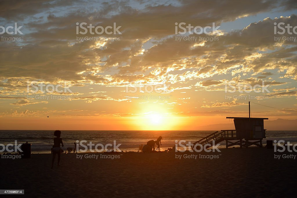 Venice beach sunset stock photo
