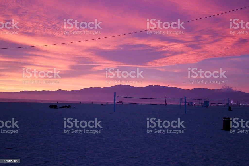 Venice Beach Sunset Sky During Winter Solstice stock photo