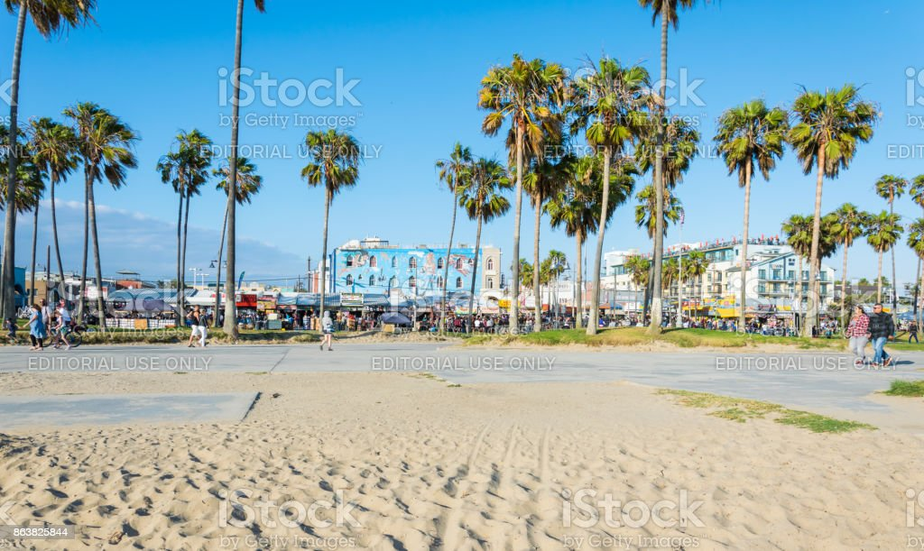 Venice Beach, the coast of the Pacific Ocean. Tourist and leisure recreation center in Los Angeles, California stock photo