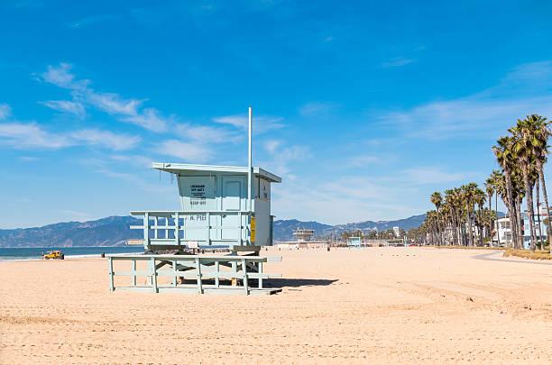 venice beach with lifeguard station los angeles california - badvaktshytt bildbanksfoton och bilder