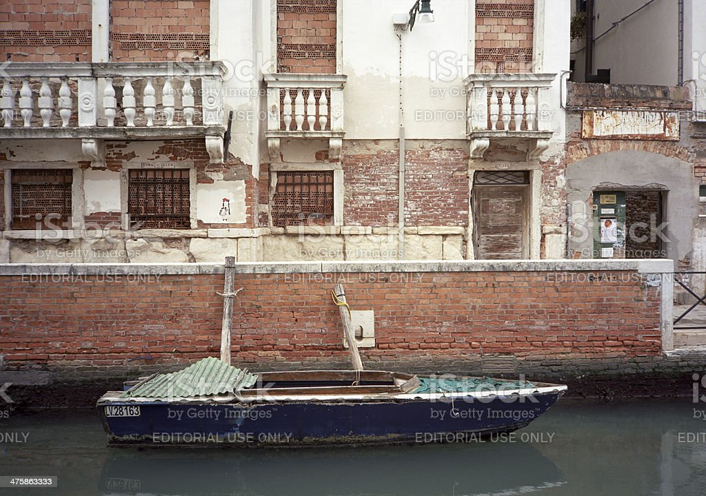 Venice: bricked up buildings and boats royalty-free stock photo