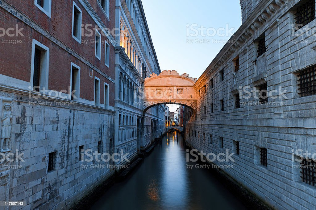 Venice, Bridge of Sighs at sunset royalty-free stock photo