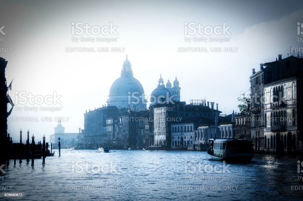 Venice Buildings at Sunrise from the Grand Canal stock photo