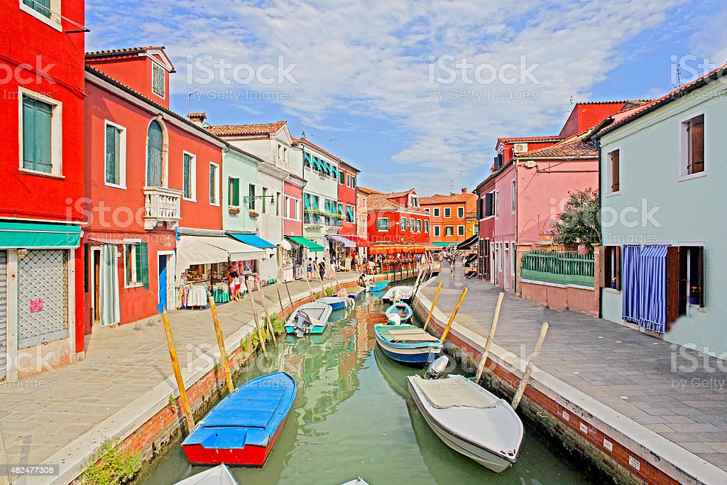 Venice, Burano island canal, small colored houses and the boats stock photo