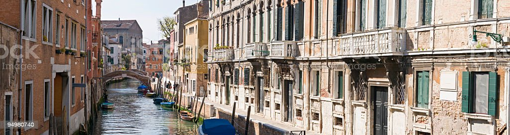 Venice canal and villas royalty-free stock photo
