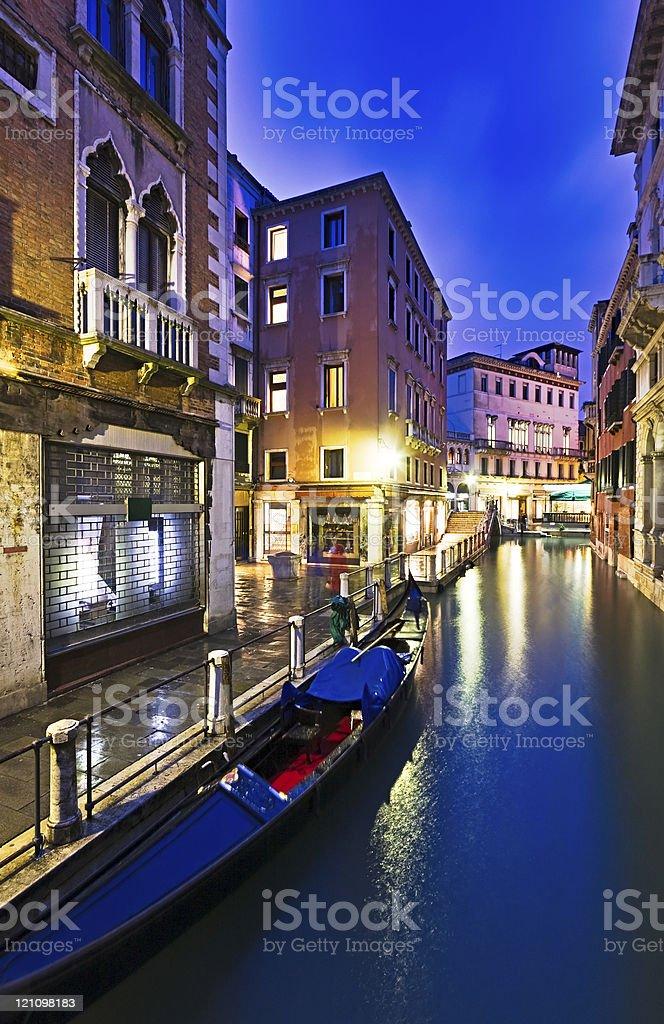Venice canal at night, Italy royalty-free stock photo