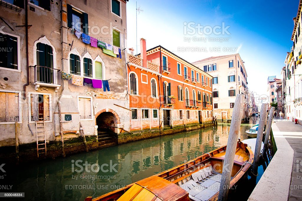 Venice Canal at sunrise stock photo