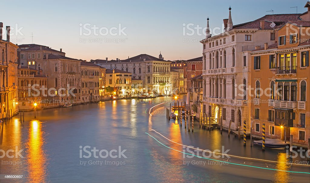 Venice - Canal grande in evening dusk from Ponte Accademia royalty-free stock photo