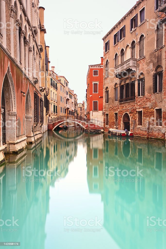 Venice, Canal with bridge. Long exposure photography. royalty-free stock photo
