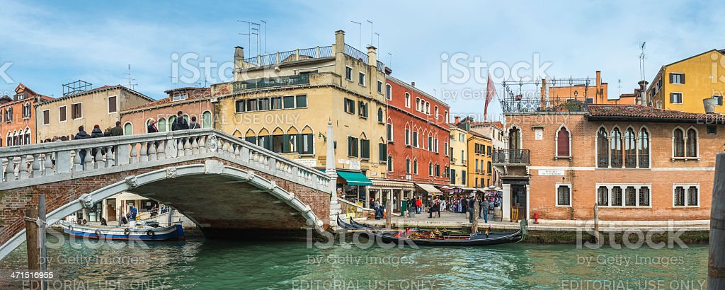 Venice canals gondolas and crowds in Cannaregio district panorama Italy stock photo