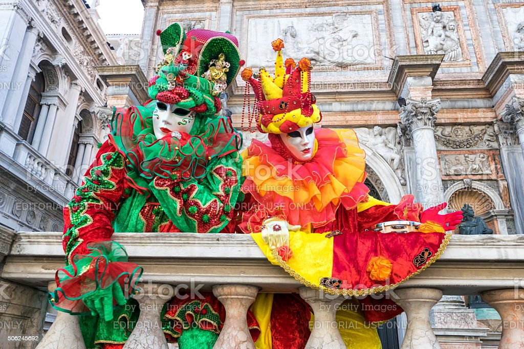 Venice carnival costumes stock photo