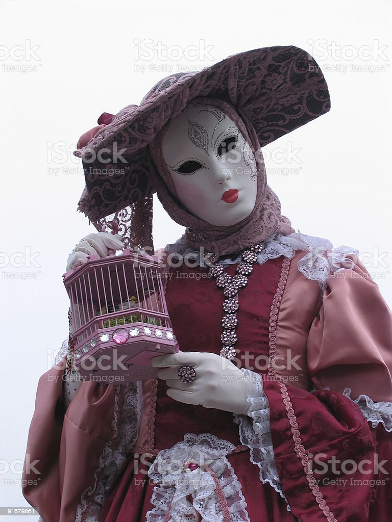 Venice Carnival: mask and birdcage royalty-free stock photo