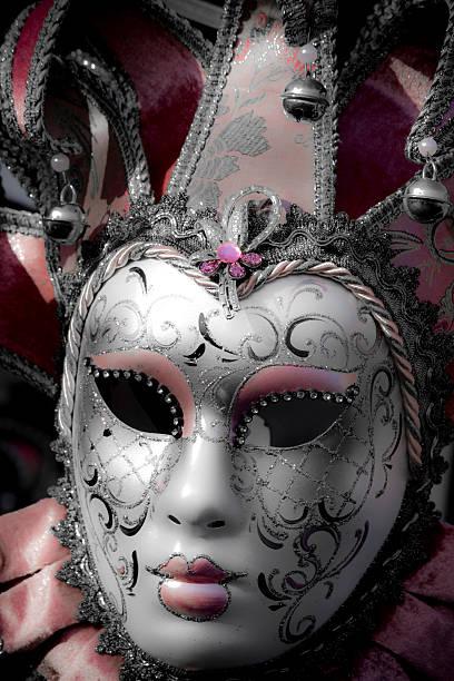 karneval von venedig-maske - rosa camo party stock-fotos und bilder