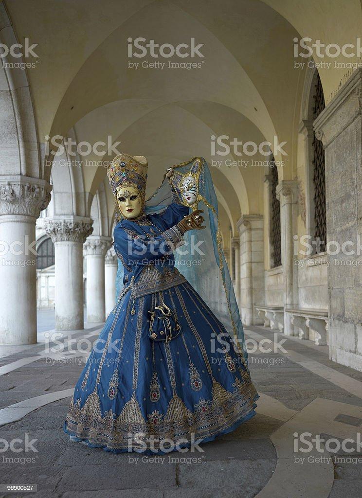 Venice Carnival Mask under Dodge's Palace royalty-free stock photo