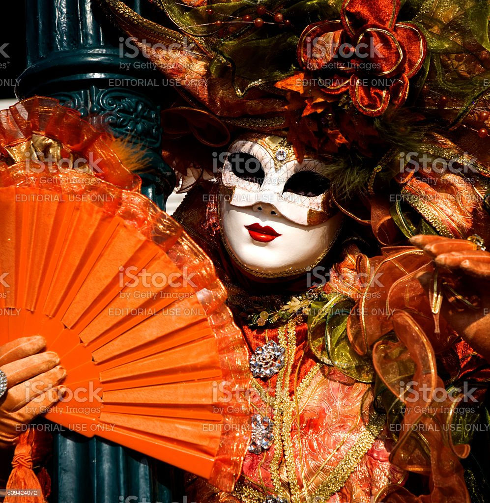 Venice Carnival. Orange Closeup. stock photo