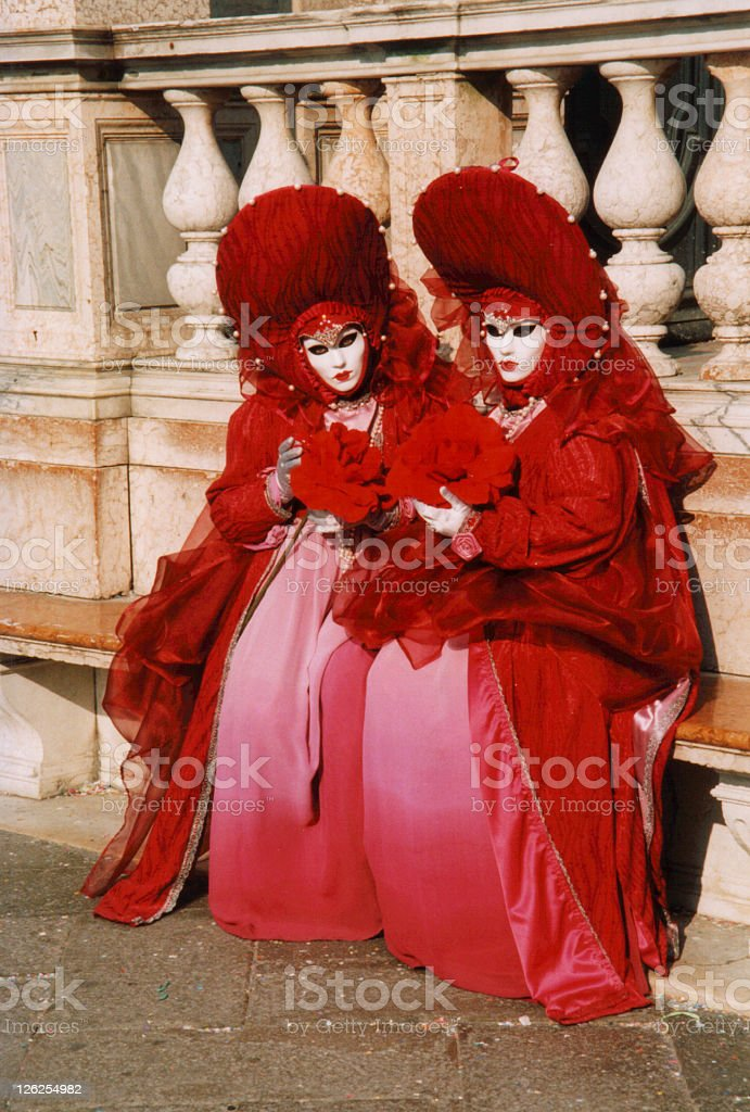 Venice Carnival - Red Costumes royalty-free stock photo