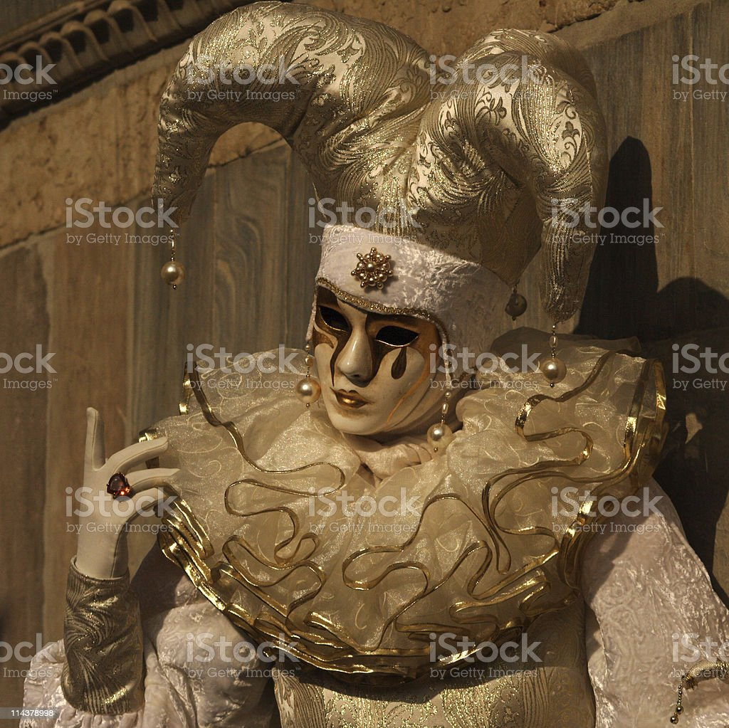 Venice carnival - white jester royalty-free stock photo