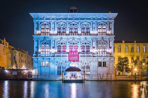 Venice casino de Venezia illuminated palazzo beside Grand Canal Italy