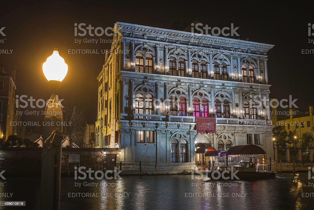 Venice Casino on Grand Canal illuminated at night Italy royalty-free stock photo