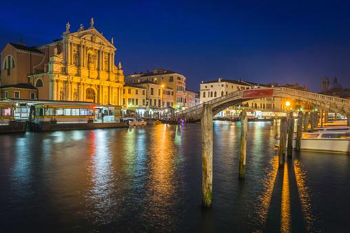 Venice Chiesa degli Scalzi bridge over Grand Canal night Italy